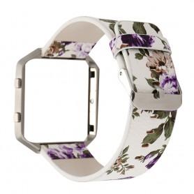 NedRo - Bloemrijk Hip Eco Leer Armband voor Fitbit Blaze met Behuizing - Armbanden - AL089-PU www.NedRo.nl