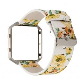 NedRo, Brățară Floral din piele ecologică pentru Fitbit Blaze cu carcasă, Bratari, AL089-CB, EtronixCenter.com