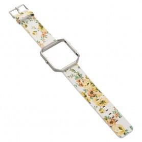 NedRo - Bloemrijk Hip Eco Leer Armband voor Fitbit Blaze met Behuizing - Armbanden - AL089-YE www.NedRo.nl