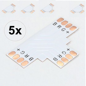 NedRo, 10mm 4-Pin T PCB Connector voor RGB SMD5050 5630 LED strips, LED connectors, LSC19-CB, EtronixCenter.com
