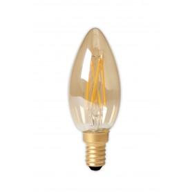Calex - Calex LED volglas gloeidraad Kaarslamp 240V 3,5W 200lm E14 B35, Goud 2100K CRI80 Dimbaar - Vintage Antiek - CA0238-1x...
