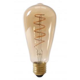 Calex - Calex LED volglas Flex gloeidraad Rustik lamp 240V 4W 200lm E27 ST64, goud 2100K dimbaar - Vintage Antiek - CA0251-1x...