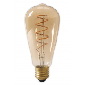Calex, Calex LED volglas Flex gloeidraad Rustik lamp 240V 4W 200lm E27 ST64, goud 2100K dimbaar, Vintage Antiek, CA0251-CB, E...
