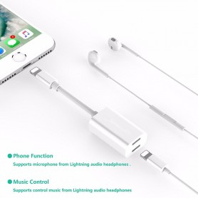 NedRo - iPhone 7 / 7 Plus Duo - Audio DataSync Charge cable - iPhone data cables  - AL591-W www.NedRo.us