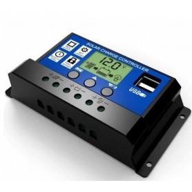 NedRo - 10A DC 12V - 24V PWM Solar laadregelaar met LCD en 5V USB - Zonnepanelen en Windturbines - AL130-10A www.NedRo.nl