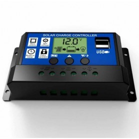 unbranded - 10A DC 12V - 24V PWM Solar charge controller with LCD and 5V USB - Solar controller - AL130-10A