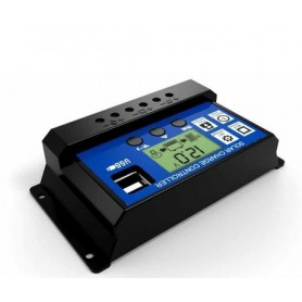 NedRo - 30A DC 12V - 24V PWM Solar charge controller with LCD and 5V USB - Solar panels - AL130-30A-C www.NedRo.us