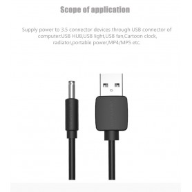 Vention - 3.5mm DC Jack to USB 2.0 80cm charging cable - Plugs and Adapters - V010-B www.NedRo.us