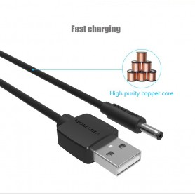 Vention - 3.5mm DC to USB 2.0 80cm charging cable - Plugs and Adapters - V010-B www.NedRo.us