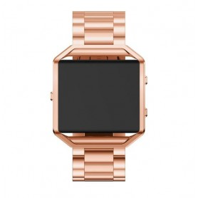 NedRo - Metalen armband voor Fitbit Blaze met behuizing - Armbanden - AL138-RG-C www.NedRo.nl