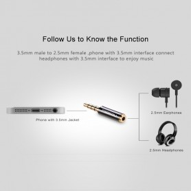 UGREEN - 3.5mm Male to 2.5mm Female Adapter - Audio adapters - UG083 www.NedRo.us