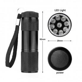 NedRo - Lanternă 9 LED UV ultra violet purpuriu aluminiu - Lanterne - LFT30-CB www.NedRo.ro