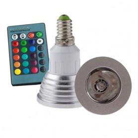 NedRo - E14 4W 16 Color Dimmable LED Bulb with Remote Control - E14 LED - AL151-C-CB www.NedRo.us