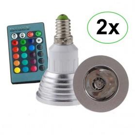 NedRo - E14 4W 16 Color Dimmable LED Bulb with Remote Control - E14 LED - AL151-2x www.NedRo.us