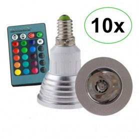 NedRo - E14 4W 16 Color Dimmable LED Bulb with Remote Control - E14 LED - AL151-10x www.NedRo.us