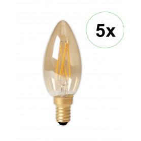 Calex - Calex LED volglas gloeidraad Kaarslamp 240V 3,5W 200lm E14 B35, Goud 2100K CRI80 Dimbaar - Vintage Antiek - CA0238-5x...