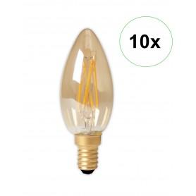 Calex - Calex LED volglas gloeidraad Kaarslamp 240V 3,5W 200lm E14 B35, Goud 2100K CRI80 Dimbaar - Vintage Antiek - CA0238-10...