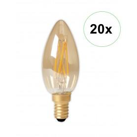 Calex - Calex LED volglas gloeidraad Kaarslamp 240V 3,5W 200lm E14 B35, Goud 2100K CRI80 Dimbaar - Vintage Antiek - CA0238-20...
