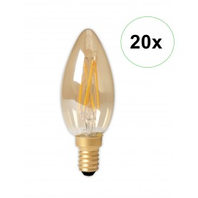 Calex - LED Filament E14 240V 3.5W 200lm B35, Gold 2100K Dimmable - Vintage Antic - CA0238-20x www.NedRo.ro