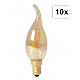 Calex - Calex LED volglas gloeidraad Tip-Kaarslamp 240V 3.5W 200lm E14 BXS35, Goud 2100K CRI80 Dimbaar - Vintage Antiek - CA0...