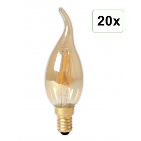 Calex - Calex LED Full Glass Filament Tip-Candle-lamp 240V 3,5W 200lm E14 BXS35, Gold 2100K CRI80 Dimmable - Vintage Antique ...
