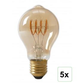 Calex - Calex LED volglas Flex-gloeidraad GLS-lamp 240V 4W 200lm E27 A60DR, goud 2100K dimbaar - Vintage Antiek - CA0250-5x w...