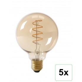 Calex - E27 Calex LED volglas Flex Gloeidraad Globe Lamp 240V 4W 200lm G125, Goud 2100K Dimbaar - Vintage Antiek - CA0252-5x ...