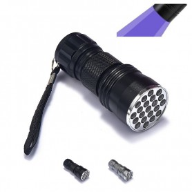 NedRo - Mini 21 LED UV Flashlight Violet Purple AAA LED Light - Flashlights - LFT82-C-CB www.NedRo.us