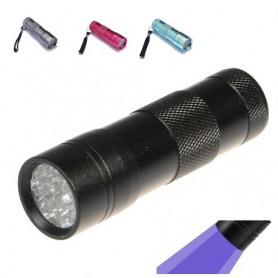 NedRo - Mini zaklamp 12 LED Aluminium UV Ultra Violet paars licht - Zaklampen - LFT29 www.NedRo.nl