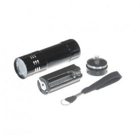 NedRo, Mini zaklamp 9 LED Aluminium UV Ultra Violet paars licht, Zaklampen, LFT70-CB, EtronixCenter.com