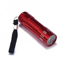 NedRo - Mini 9 LED Aluminium UV Ultra Violet Flashlight purple light - Flashlights - LFT70-C-CB www.NedRo.us