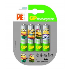 GP - Minion in blister GP ReCyko+ AA 2000mAh Rechargeable Battery - Size AA - NK350 www.NedRo.us