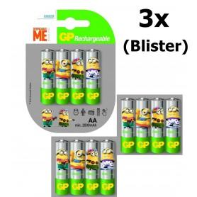 GP - Minion in blister GP ReCyko+ AA 2000mAh Rechargeable Battery - Size AA - NK350-3X www.NedRo.us