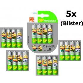 GP - Minion in blister GP ReCyko + AA 2000mAh Oplaadbare Batterijen - AA formaat - NK350-5x www.NedRo.nl