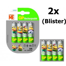 GP - Minion in blister GP ReCyko+ AA 2000mAh Rechargeable Battery - Size AA - NK350-2x www.NedRo.us