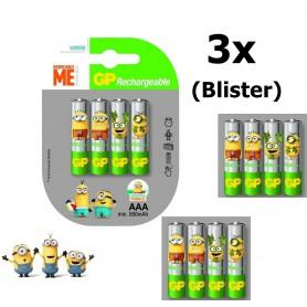 GP - Minion in blister GP ReCyko+ AAA 800mAh Rechargeable Battery - Size AAA - NK351-3x www.NedRo.us