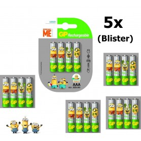 GP - Minion in Blister GP ReCyko+ AAA 800mAh Oplaadbare Batterij - AAA formaat - NK351-5x www.NedRo.nl
