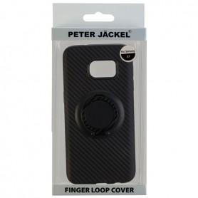 Peter Jäckel - Hoesje voor Apple iPhone 7- iPhone 8 vingerlus en metalen plaat koolstofvezelstijl TPU - iPhone telefoonhoesje...