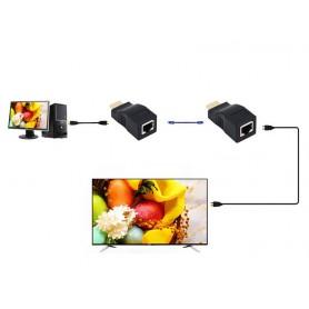 NedRo - 1 Set 30m HDMI / RJ45 amplificator extensie booster TX/RX 3D Full HD1080P - HDMI adaptoare - AL163 www.NedRo.ro