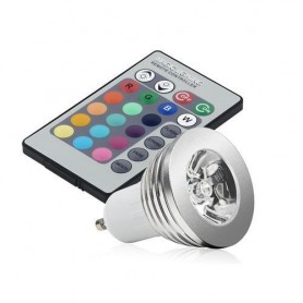 Oem - GU10 3W 16 Color Dimmable LED Bulb with Remote Control - GU10 LED - AL164