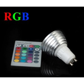 NedRo - GU10 3W 16 Color Dimmable LED Bulb with Remote Control - GU10 LED - AL164