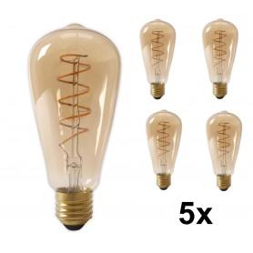 Calex - Calex LED volglas Flex gloeidraad Rustik lamp 240V 4W 200lm E27 ST64, goud 2100K dimbaar - Vintage Antiek - CA0251-5x...