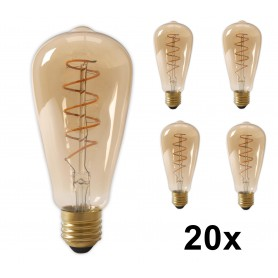Calex - Calex LED Full Glass Flex Filament Rustik Lamp 240V 4W 200lm E27 ST64, Gold 2100K Dimmable - Vintage Antique - CA0251...