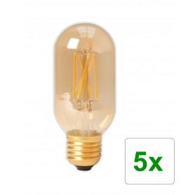 Calex - E27 4W 240V Calex LED volglas gloeidraad buis type lamp 320lm T45L goud 2100K dimbaar - Vintage Antiek - CA0240-5x ww...