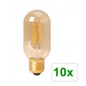 Calex - E27 4W 240V Calex LED volglas gloeidraad buis type lamp 320lm T45L goud 2100K dimbaar - Vintage Antiek - CA0240-10x w...