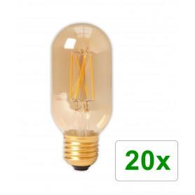 Calex - E27 4W 240V Calex LED volglas gloeidraad buis type lamp 320lm T45L goud 2100K dimbaar - Vintage Antiek - CA0240-20x w...