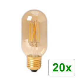 Calex - E27 4W 240V Calex LED Full Glass Filament Tubular-Type lamp 320lm T45L Gold 2100K Dimmable - Vintage Antique - CA0240...