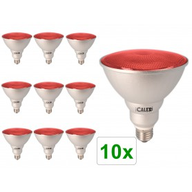 Calex - Rood E27 20W 240V AC Calex Sealed Beam E-spaarlamp PAR38 - Spaarlampen - CA0320-10x www.NedRo.nl