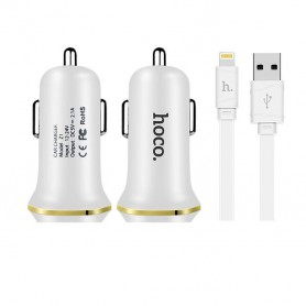 HOCO, Duo 2.1A USB car charger with iPhone Lightning cable, Auto charger, H60420-CB