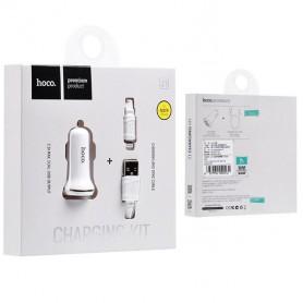 HOCO, Duo 2.1A încărcător de mașină USB cu cablu iPhone Lightning, Încărcător auto, H60420-CB, EtronixCenter.com